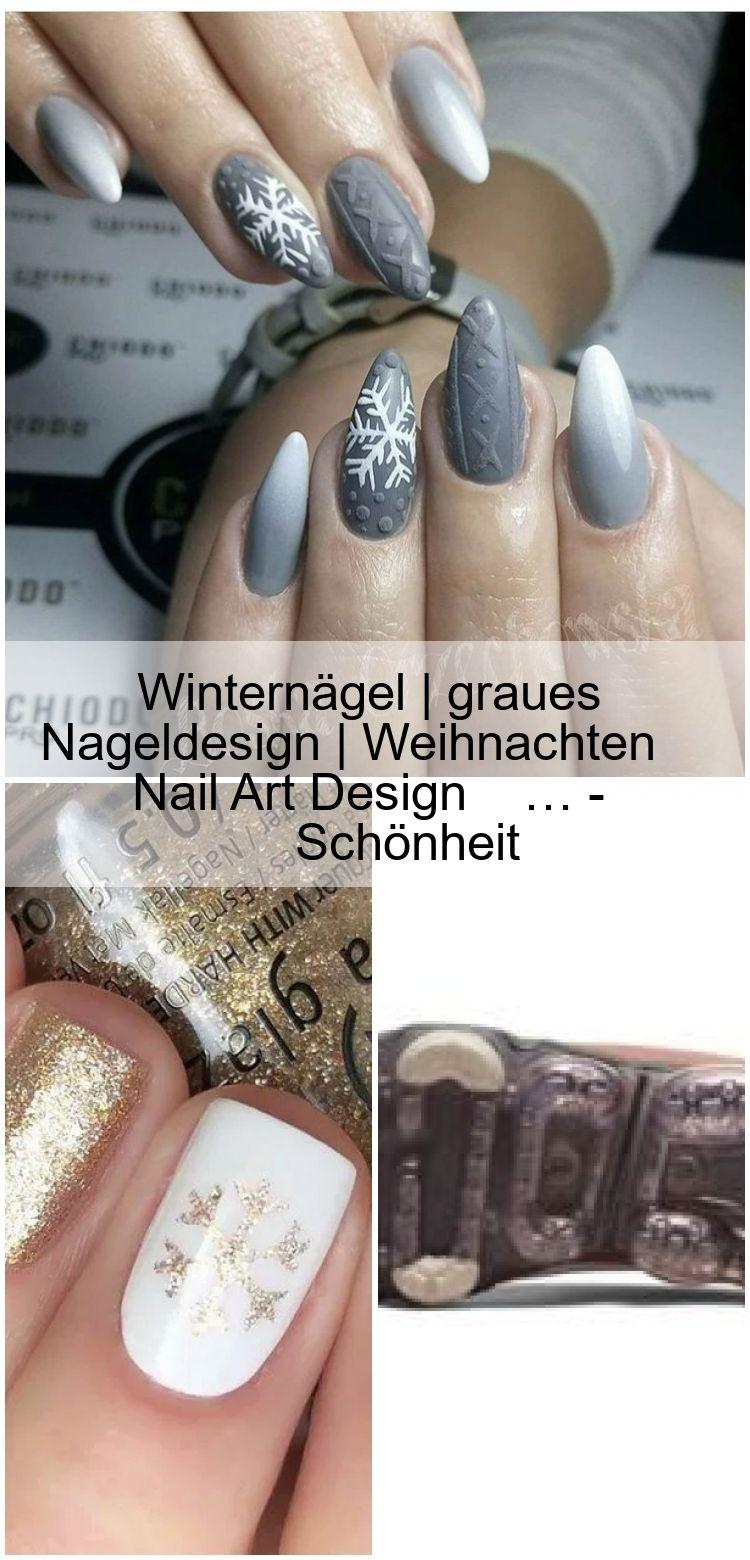 Winternägel | graues Nageldesign | Weihnachten Nail Art Design #Nails #NailArt #Nai … – Schön…