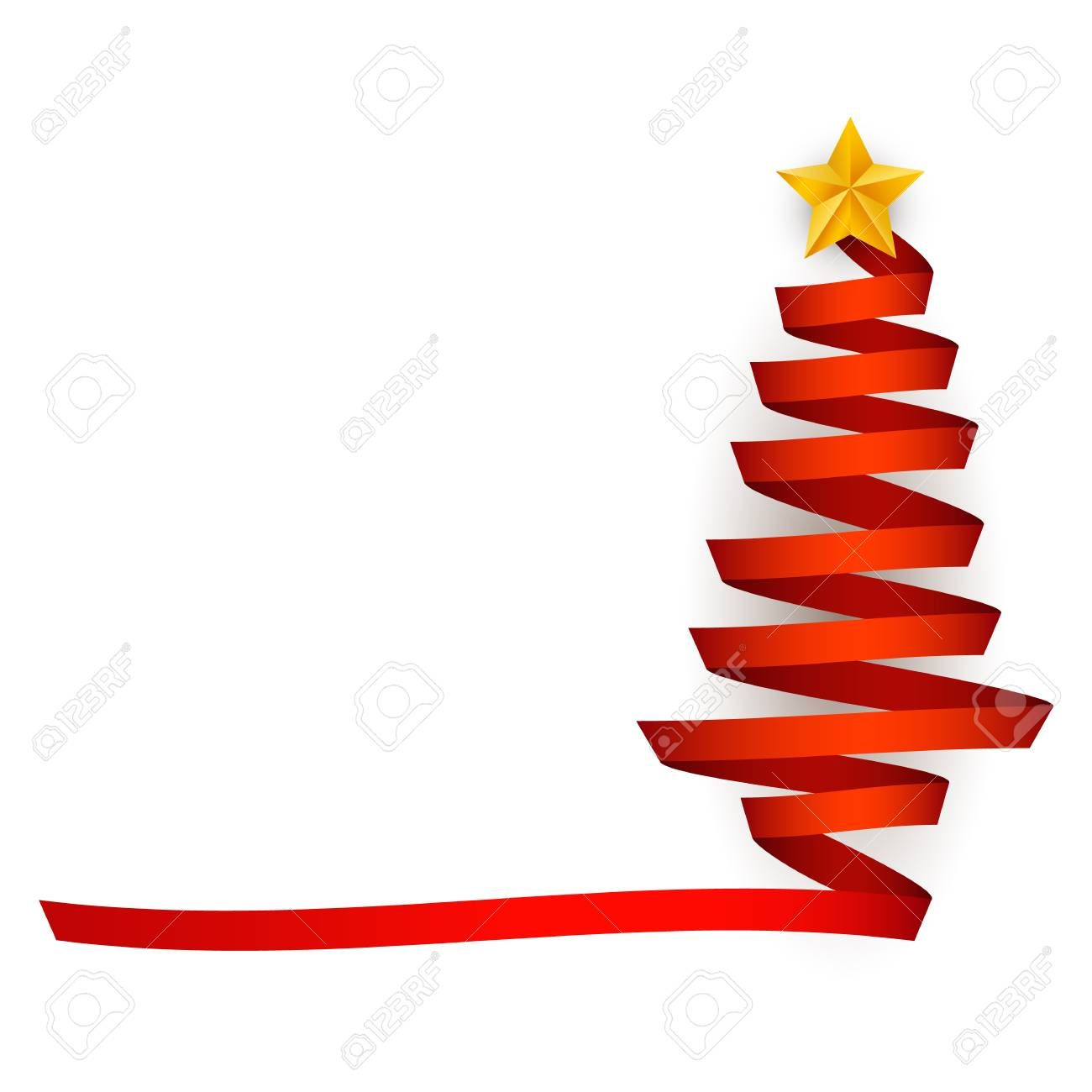 Vector Flat Red Ribbon Christmas Tree With Golden Star At Top Traditional Winter Holiday In 2020 Merry Christmas And Happy New Year New Years Decorations Golden Star