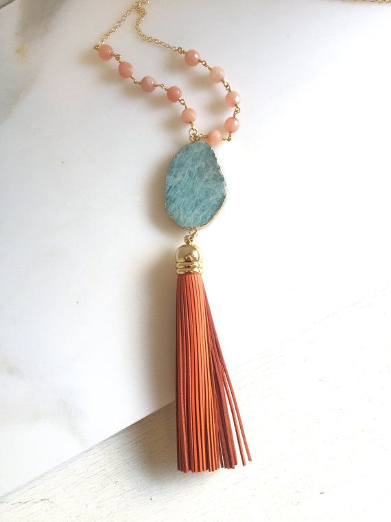 Tassel Necklace. Turquoise And Orange Tassel by RusticGem on Etsy