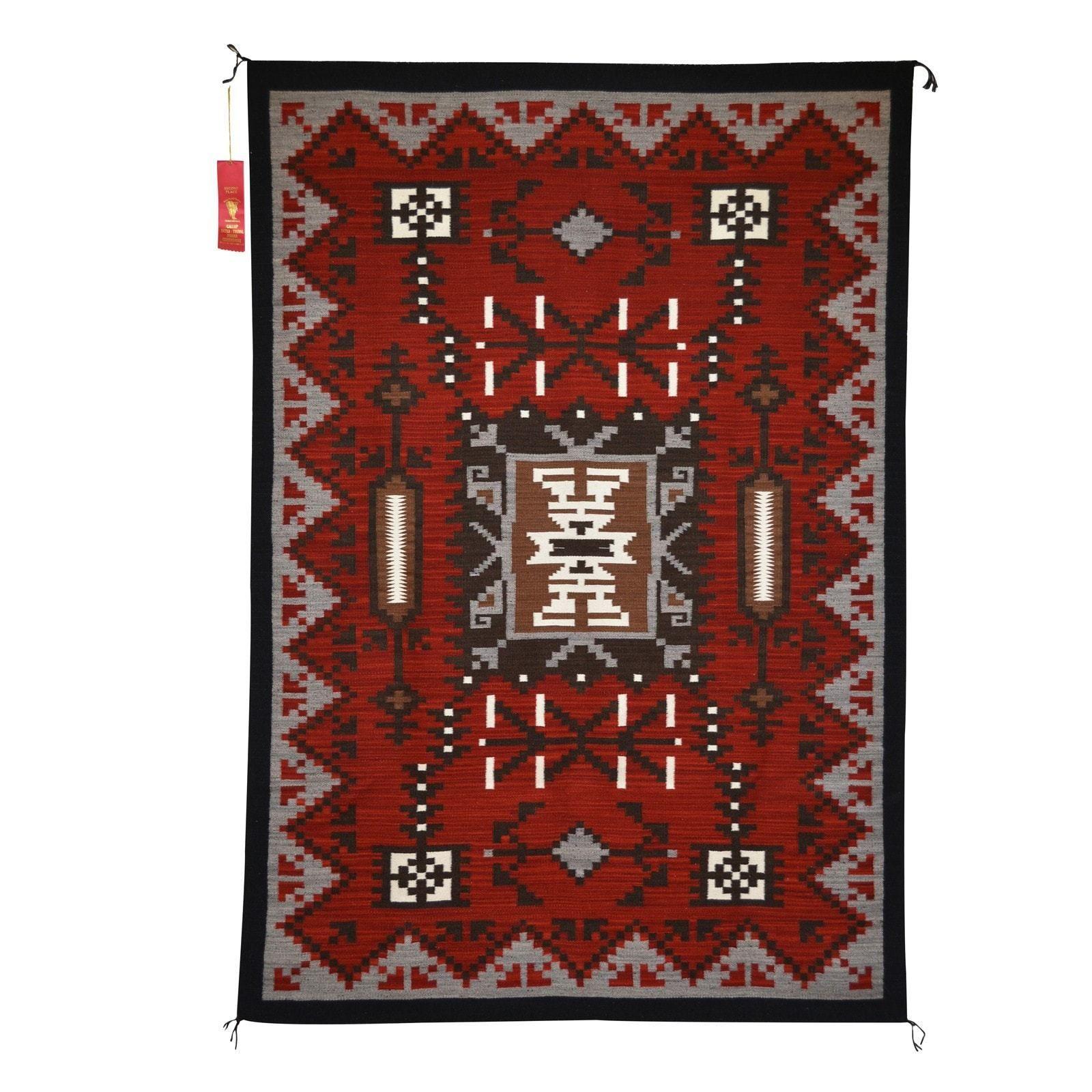 Storm Pattern Navajo Weaving : Elsie Bia : Churro 1435
