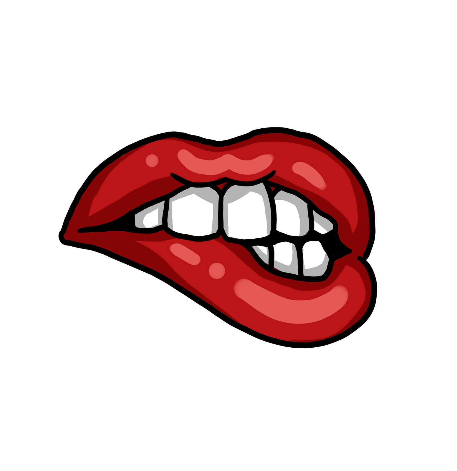 Red Lips Teeth Drawing Art Tattoo Design Drawings