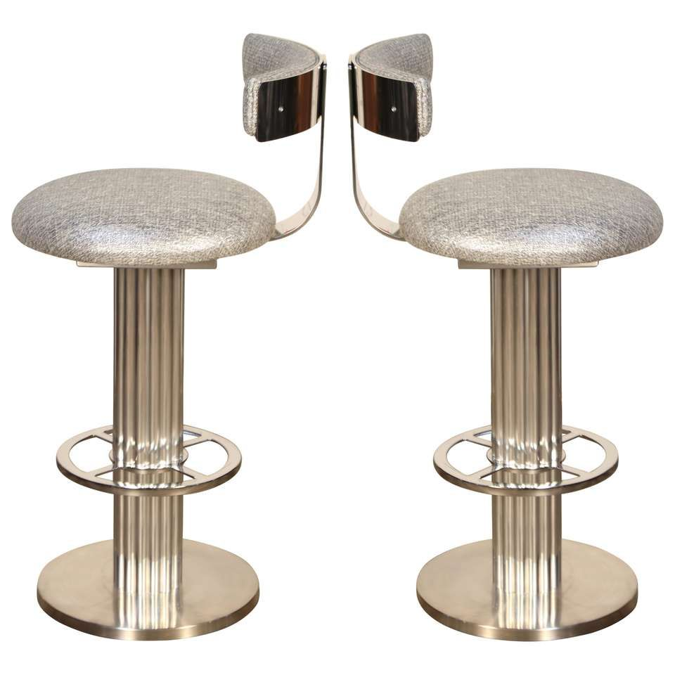 Pair Of Designs For Leisure Stools Memory Swivel Polished