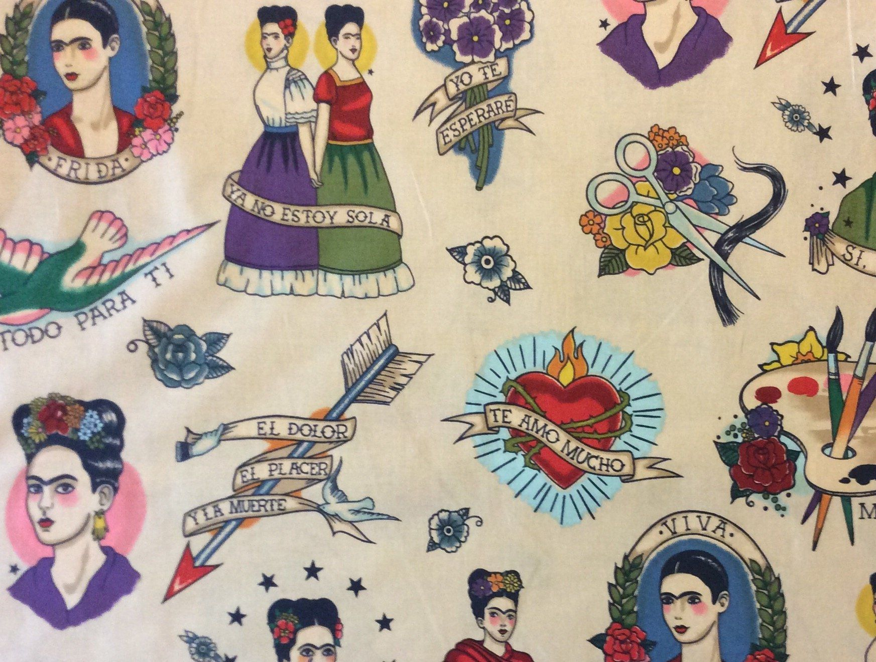 Ah167 Frida Kahlo Mexico Art Viva Love Tattoo Painting Quilting