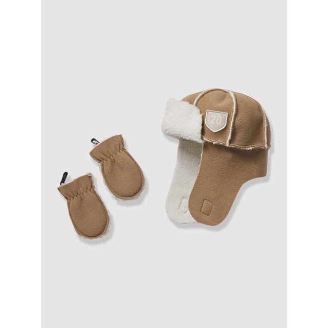 Chapka et moufles bébé garçon aspect peau lainée VERTBAUDET