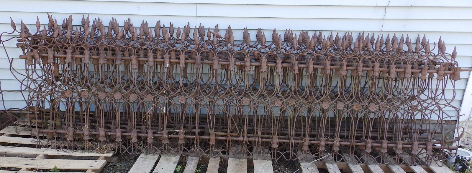 60 ft Antique Wrought Iron Fence Vtg Architectural Garden 8 Sections ...