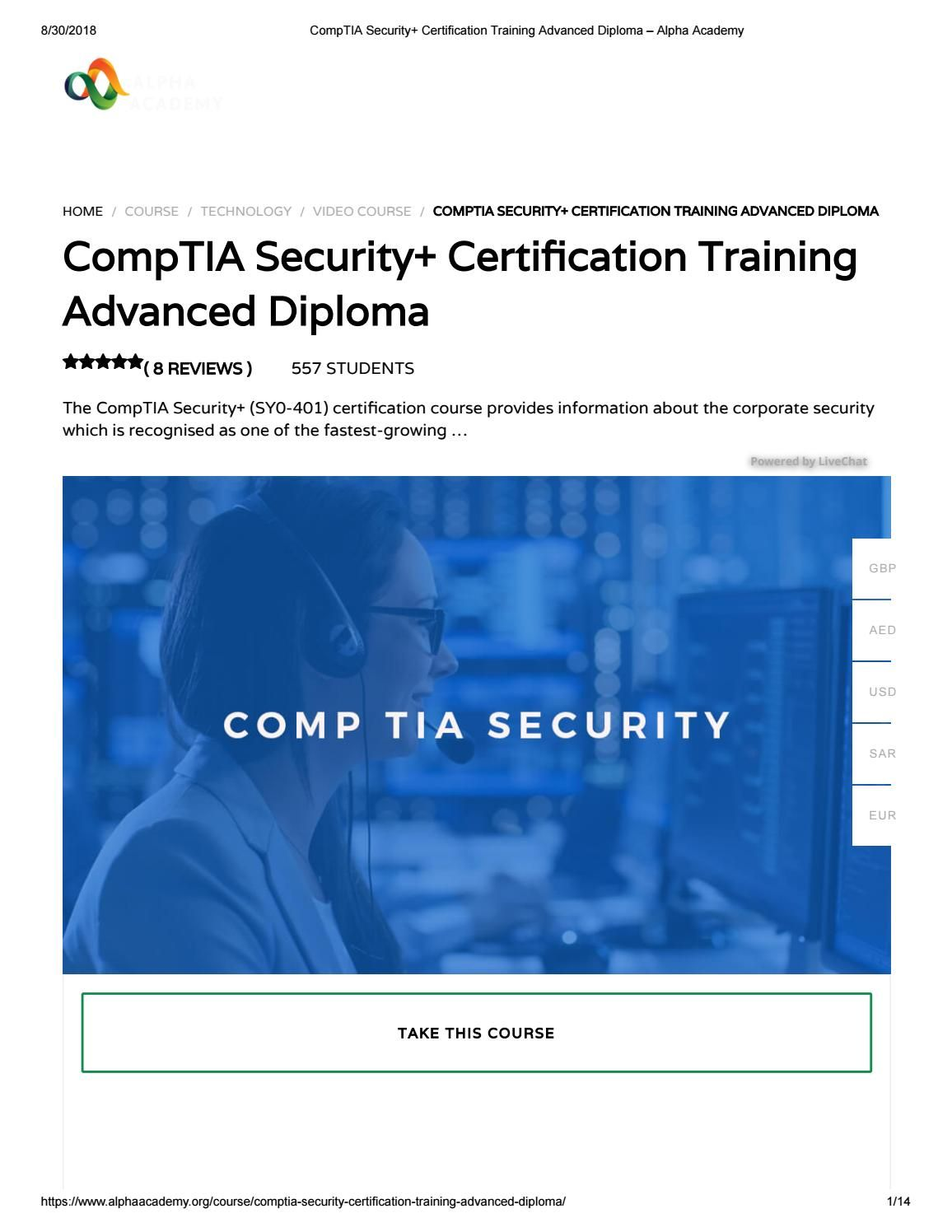 Comptia Security Certification Training Advanced Diploma