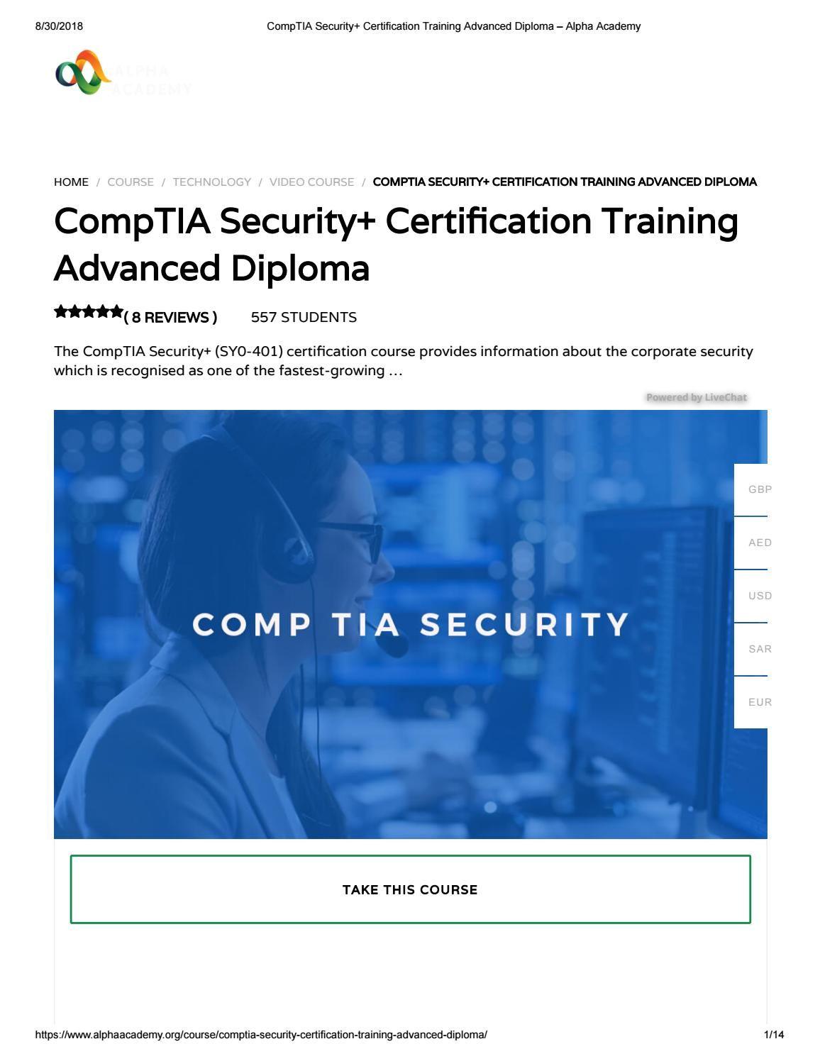 Comptia Security Certification Training Advanced Diploma Alpha