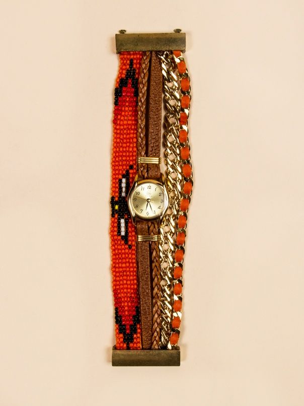 Beaded, Leather Orange Watch Bracelet by Sara Designs NY