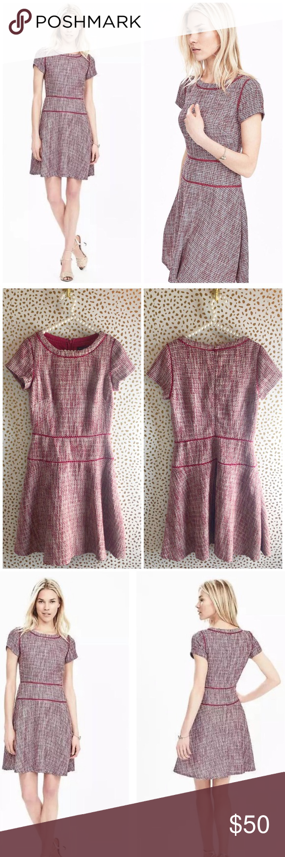 8884229b6ff Banana Republic Pink Tweed Fit   Flare Dress Excellent pre owned condition.  Size 8 TALL. Pink tweed with fit and flare skirt. No trades!!