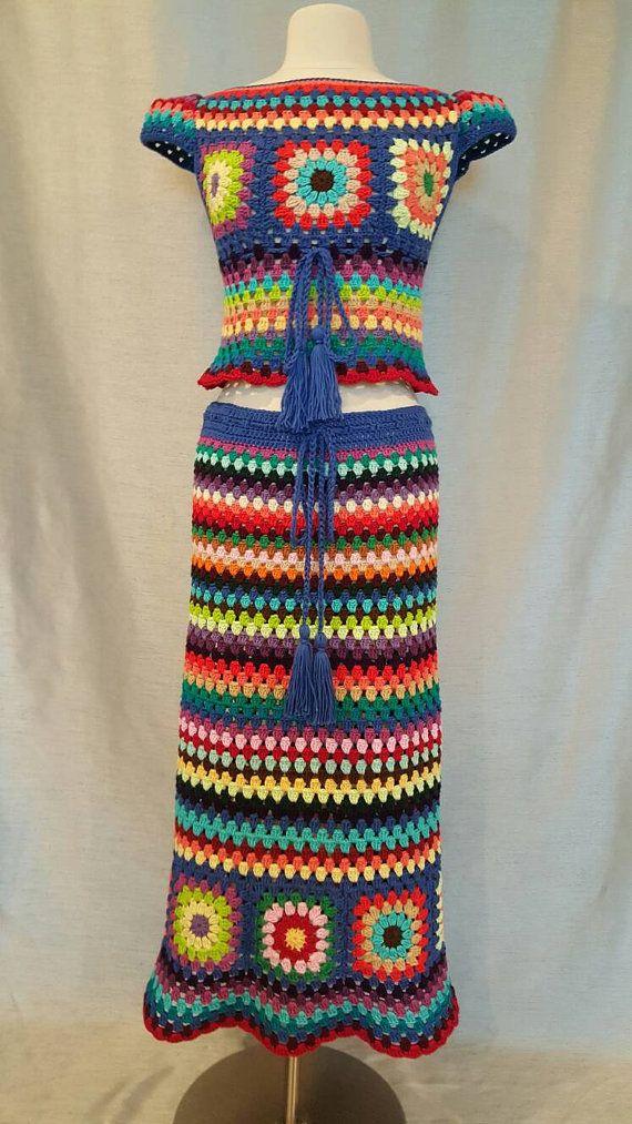 Womens Crochet Granny Square Hippie Gypsy Skirt | Hippie gypsy ...