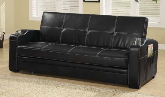 Faux Leather Sofa Bed With White Stitching Black Puplar