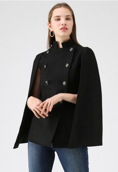 fd2fbae299 Keep It Elegant Double-Breasted Cape Coat in Black - OUTERS - Retro, Indie  and Unique Fashion