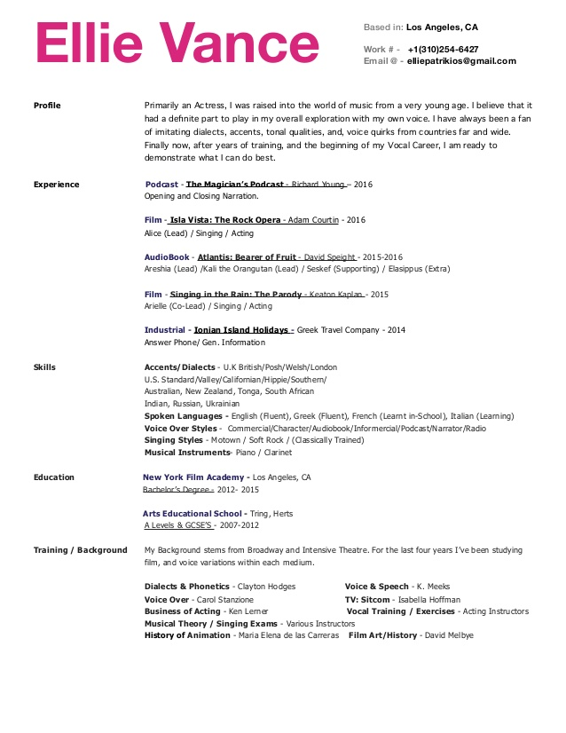Voice Actor Resume Example Google Search In 2020 Good Resume Examples Resume Examples Resume