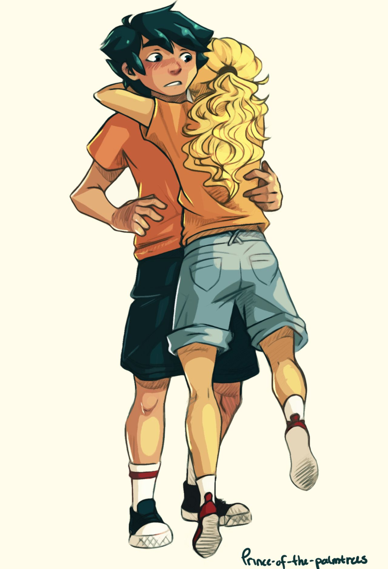 A Drawing Of Percy And Annabeths Hug After They Escaped From C C