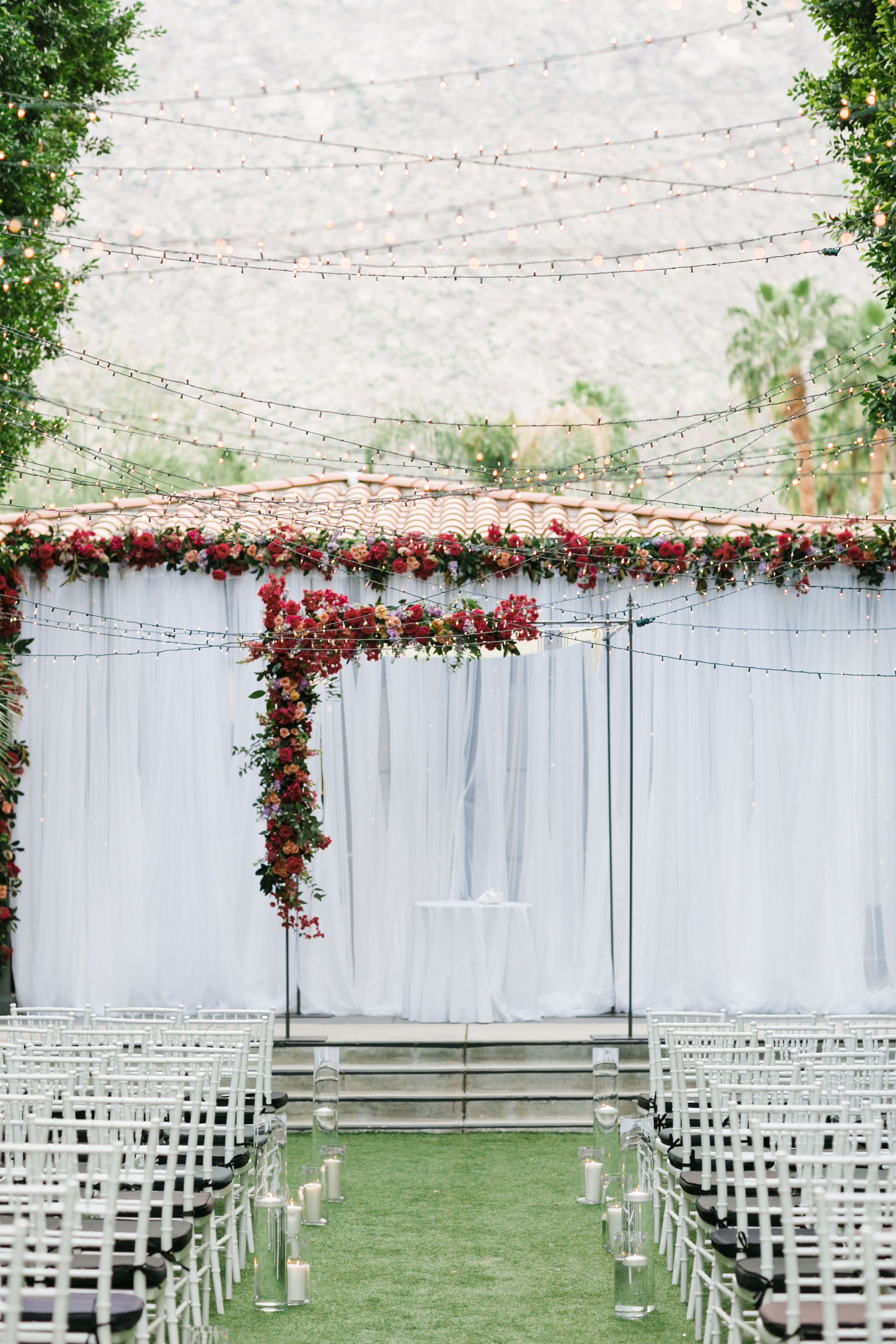 Gorgeous floral filled ceremony under a canopy of lights & Weekend Palm Springs Wedding Under a Canopy of Lights | Pinterest ...