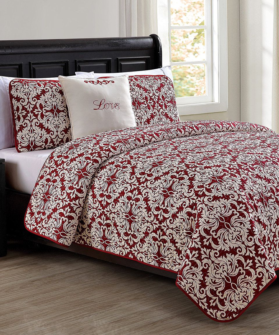 Awesome Red U0026 Ivory Love Quilt Set By S.L.