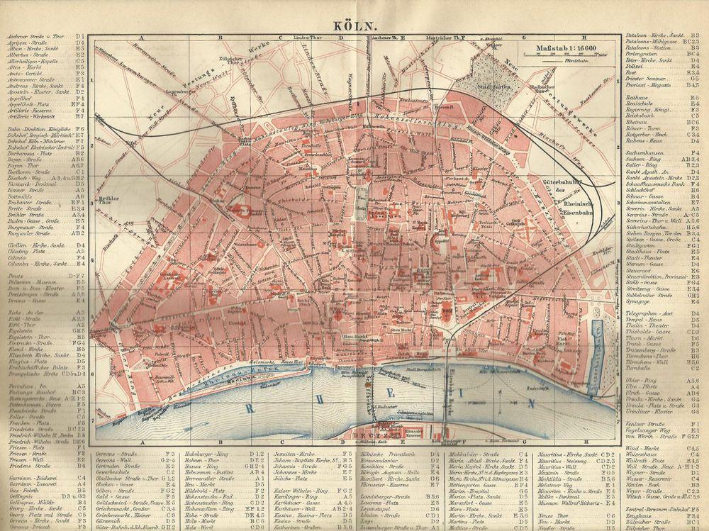 Köln Karte Deutschland.1887 Köln Deutschland Alte Landkarte Antique Ww1 Rjf Köln