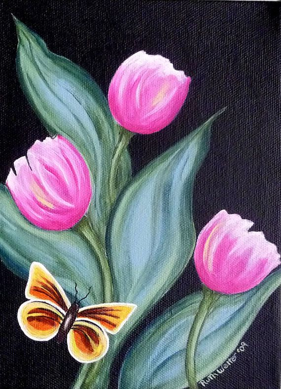 Tulips Butterfly Aceo Print Card Art Limited By Artfulcreations