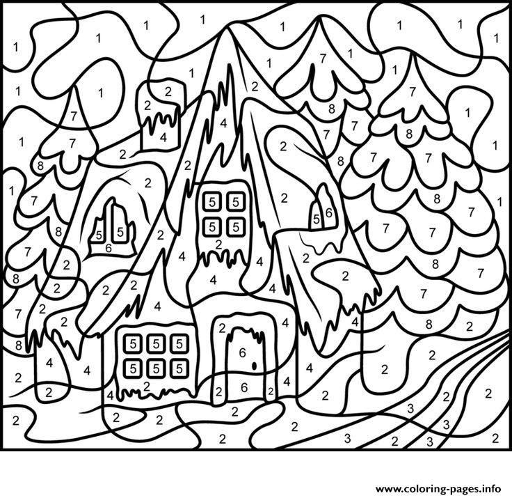 Print color by number adults house free coloring pages | Linda ...