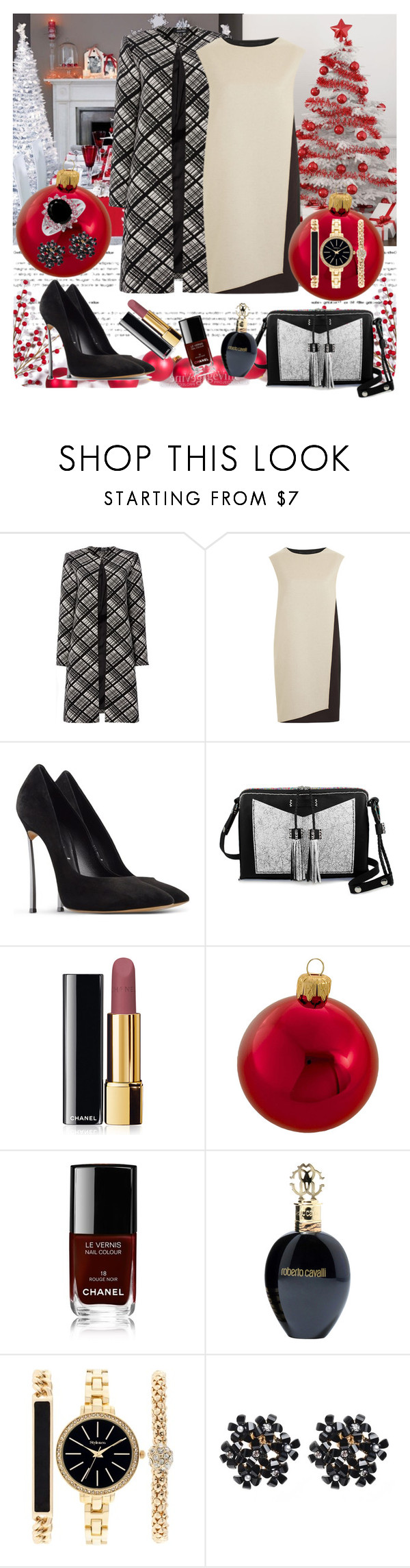 """""""Untitled #582"""" by misaflowers ❤ liked on Polyvore featuring Ellen Tracy, PINGHE, Casadei, Carianne Moore, Chanel, Kurt Adler, Roberto Cavalli and Style & Co."""