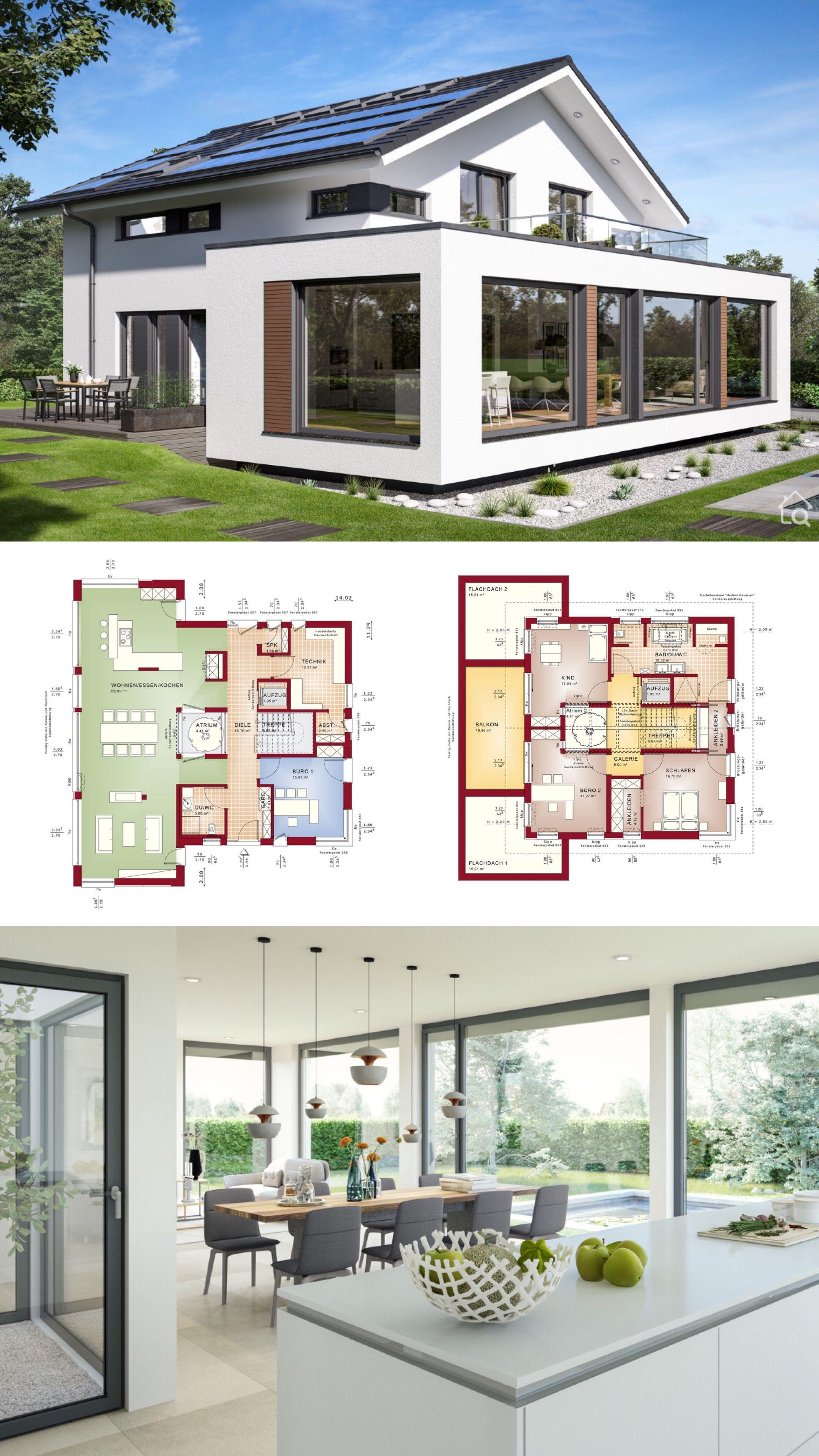 Modernes Satteldach Haus Mit Atrium Galerie 5 Zimmer Grundriss Offen 250 Qm Gross Aufzug Grosser Wintergarten Erker Mit Balko Modernes Haus Haus Haus Plane