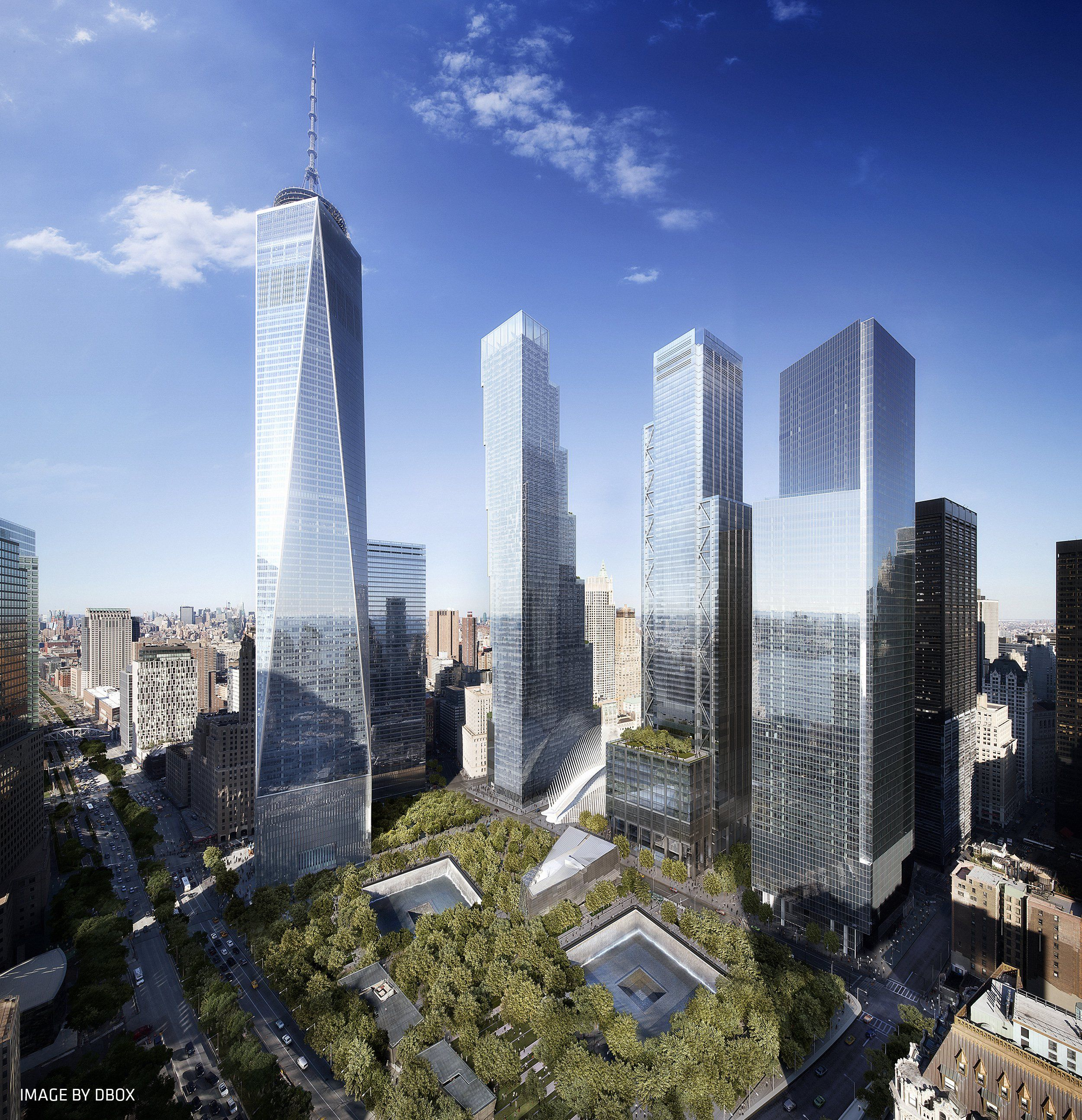 Rendering Of The Completed Office Towers Of The World Trade