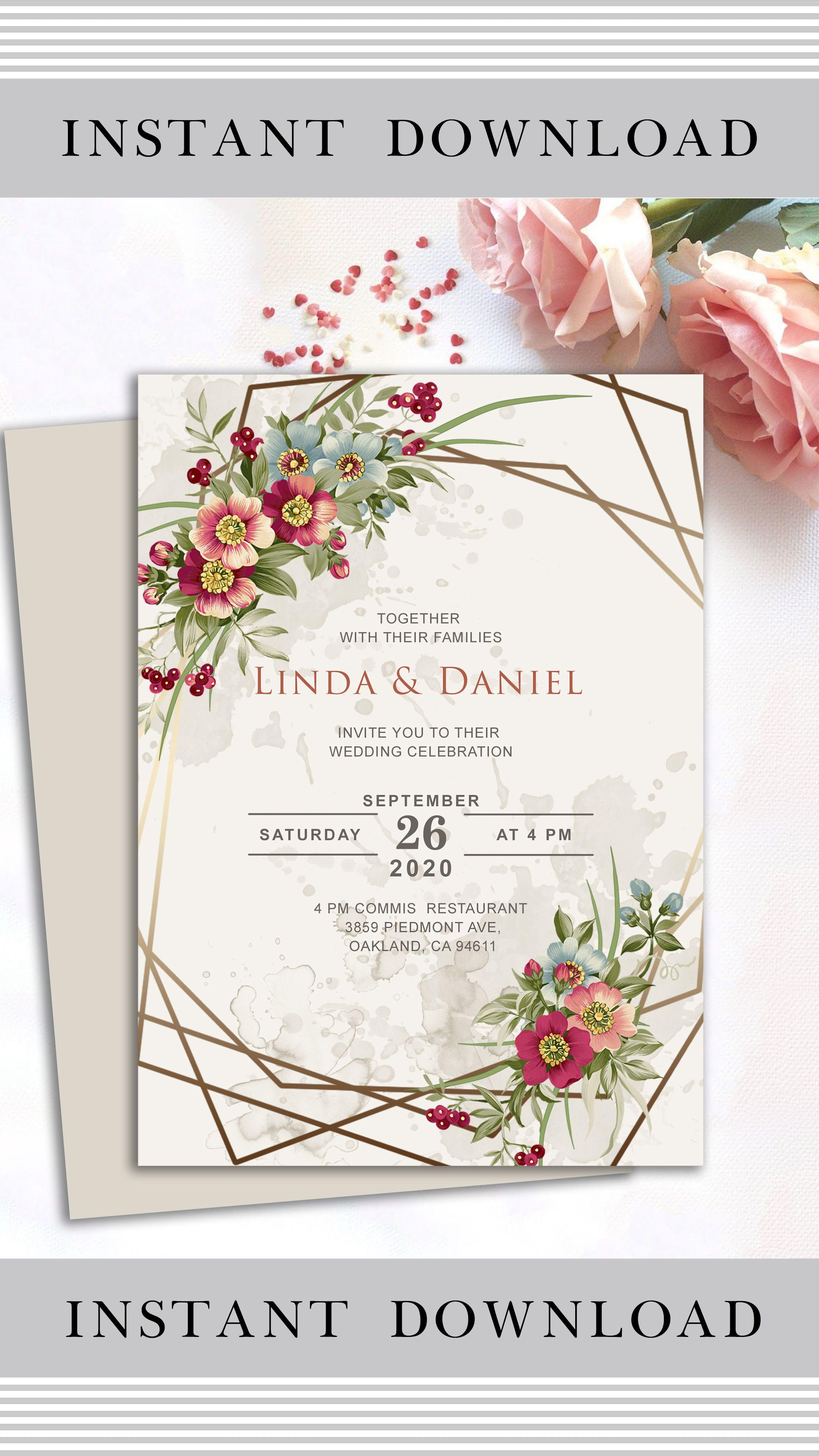 Floral Wedding Invitation Template Floral Wedding Invite Geometric Wedding Invitation Instant Download Wedding Invitation Cards Wedding Invitations Floral Wedding Invitations