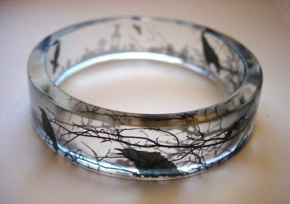 Quoth the Raven - Eerie clear wintry resin bangle.