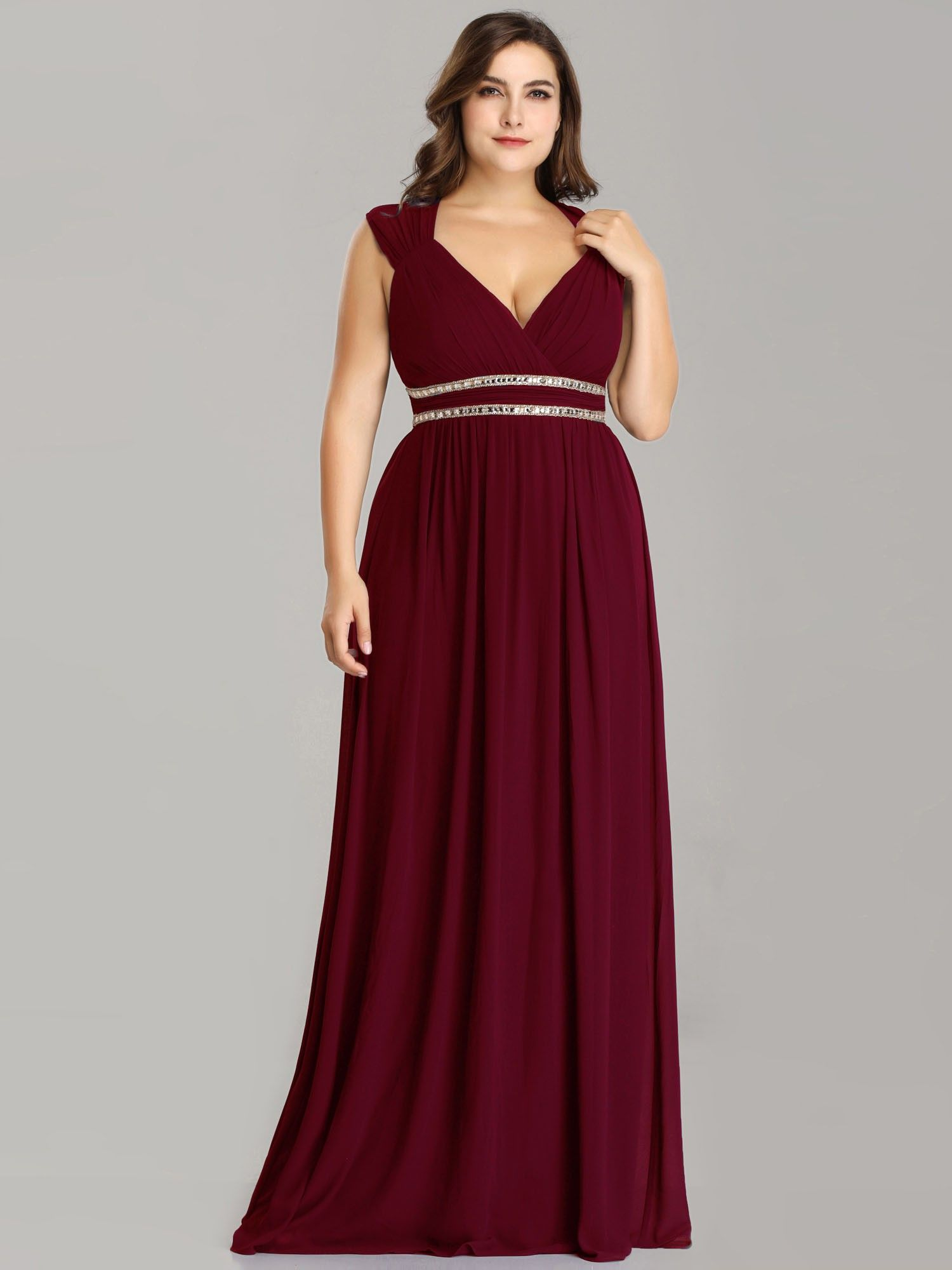 94f01a73584 Plus Size Sleeveless Grecian Style Evening Dress in 2019