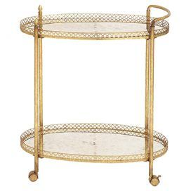 """Glass-top tea cart in gold with 2 tiers featuring raised linked edges.   Product: Tea cartConstruction Material: Glass and metalColor: GoldFeatures: Two tiersDimensions: 35"""" H x 30"""" W x 16"""" D"""