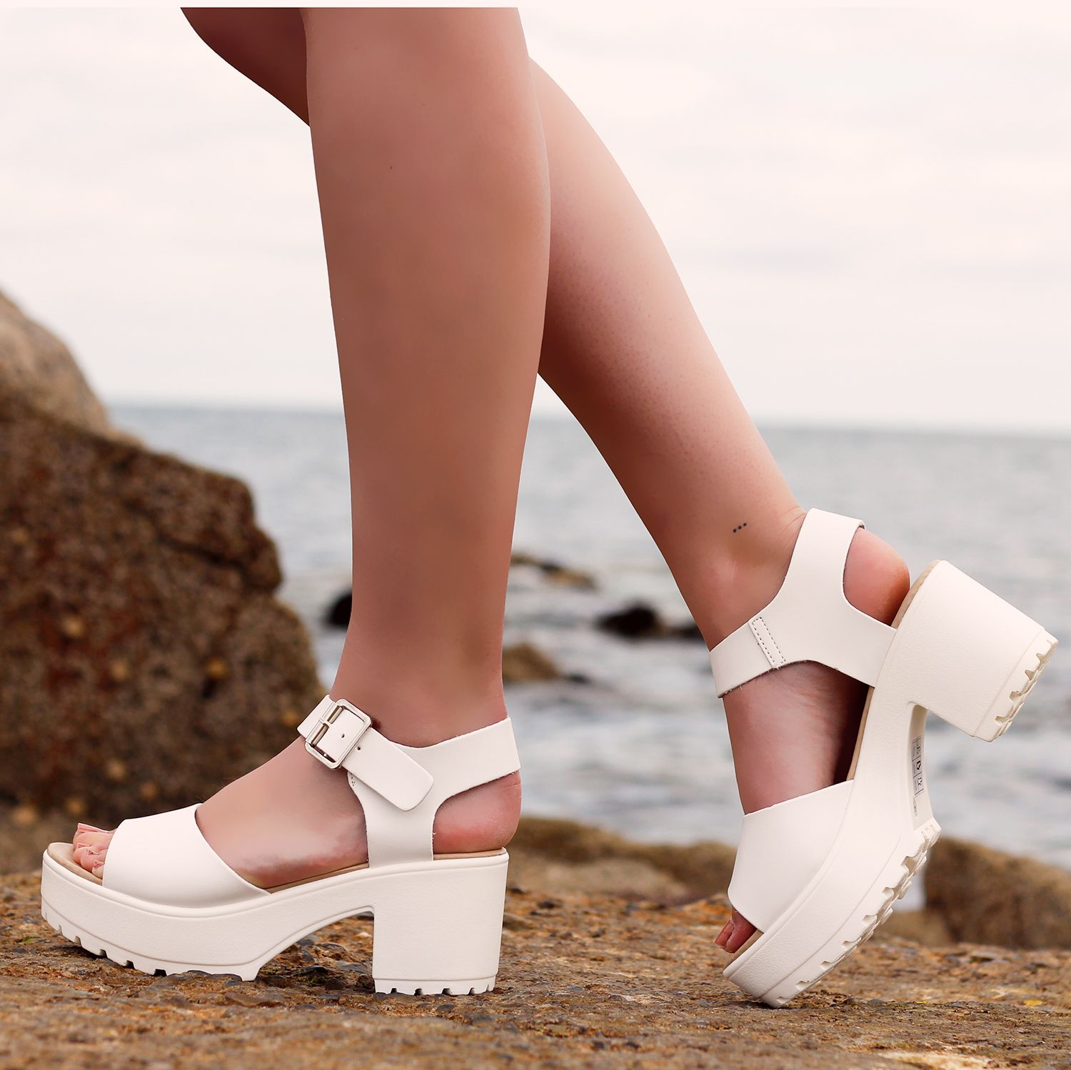 Ladies Block Heel Sandal D28 WHT | Sandals, Chunky sandals