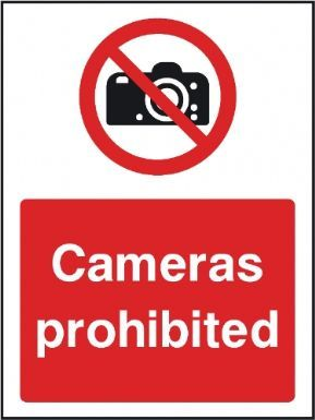 Cameras prohibited general safety sign
