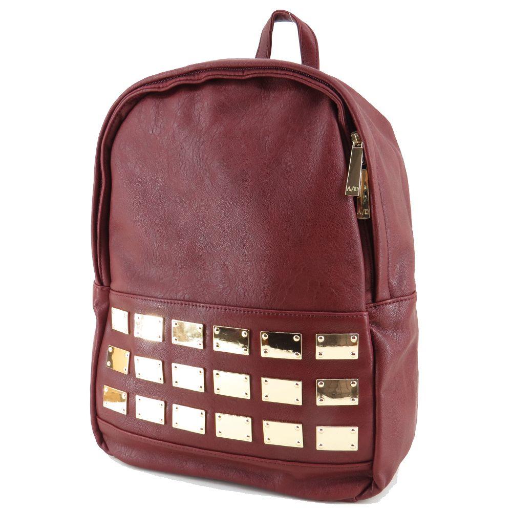 Bolsa para carregar notebook : Mochila feminina de couro ecol?gico vinho para