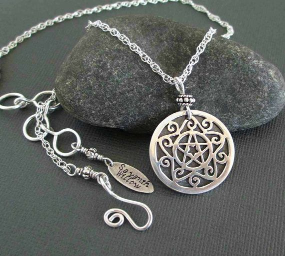 Sterling silver pentacle necklace wiccan jewelry pentagram pendant sterling silver pentacle necklace wiccan jewelry pentagram pendant sterling silver chain necklace equinox solstice jewelry aloadofball Choice Image
