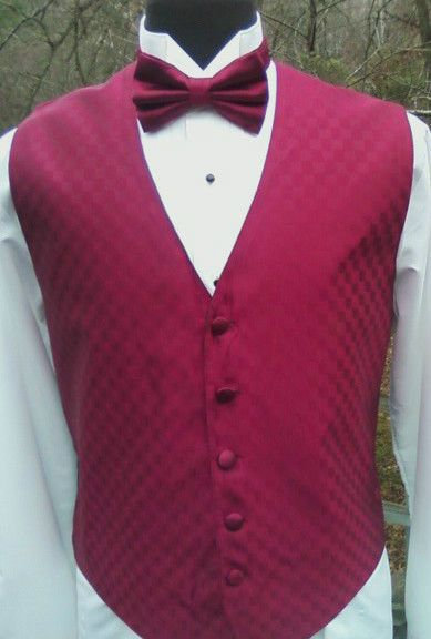 Man Formal Vest in Red Black Blue Ivory White Champagne Fusion Block Pattern