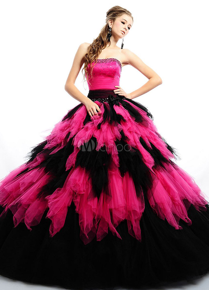 fd5e5e9c35f Ball Gown Fuchsia Tulle Strapless Floor Length Quinceanera Dress -  Milanoo.com