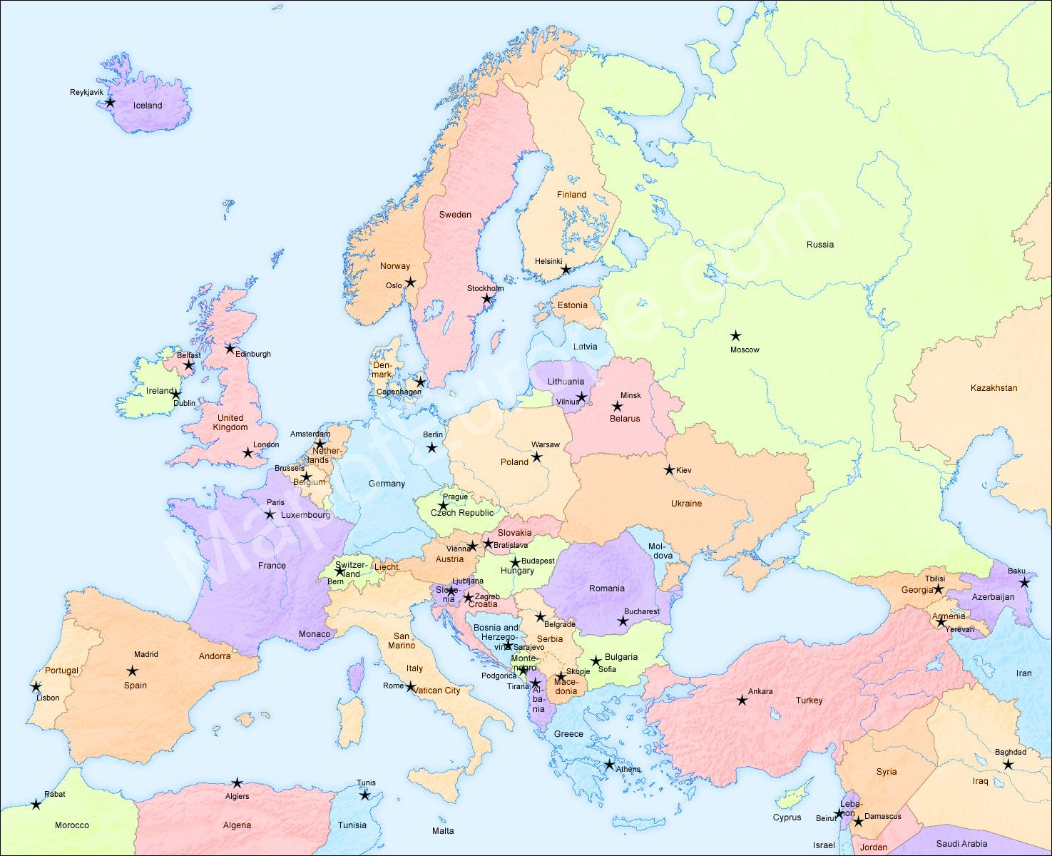 Map Of Europe Europe Map Travel Pinterest - Map of europe with capital cities