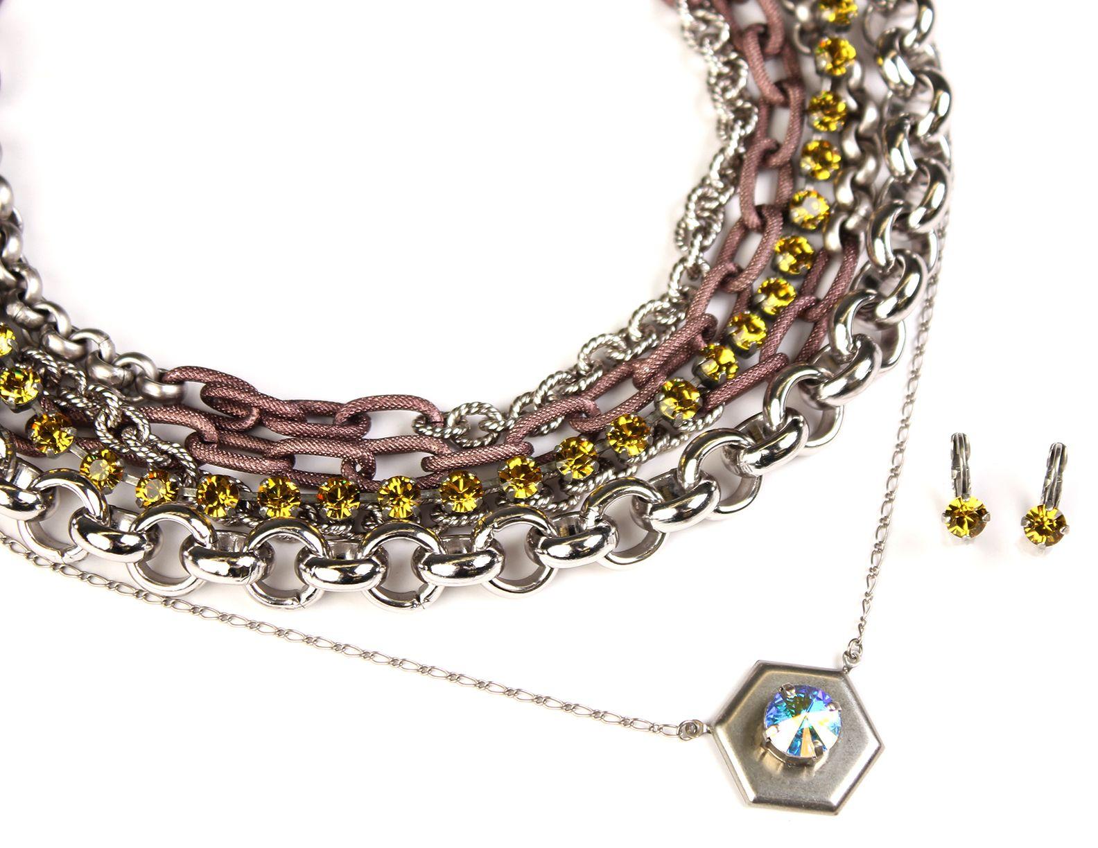 Sabika look necklace - Layered Chain And Choker Look Featuring Bold Colors Sabika London Choker Sahara Dusk 3