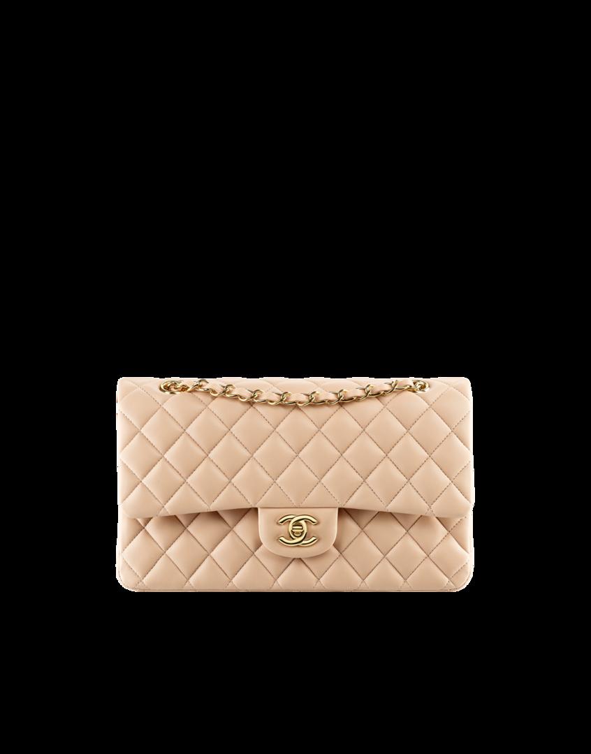 0fd8fb8ba865f9 Classic flap bag, lambskin & gold metal-light beige - CHANEL ...