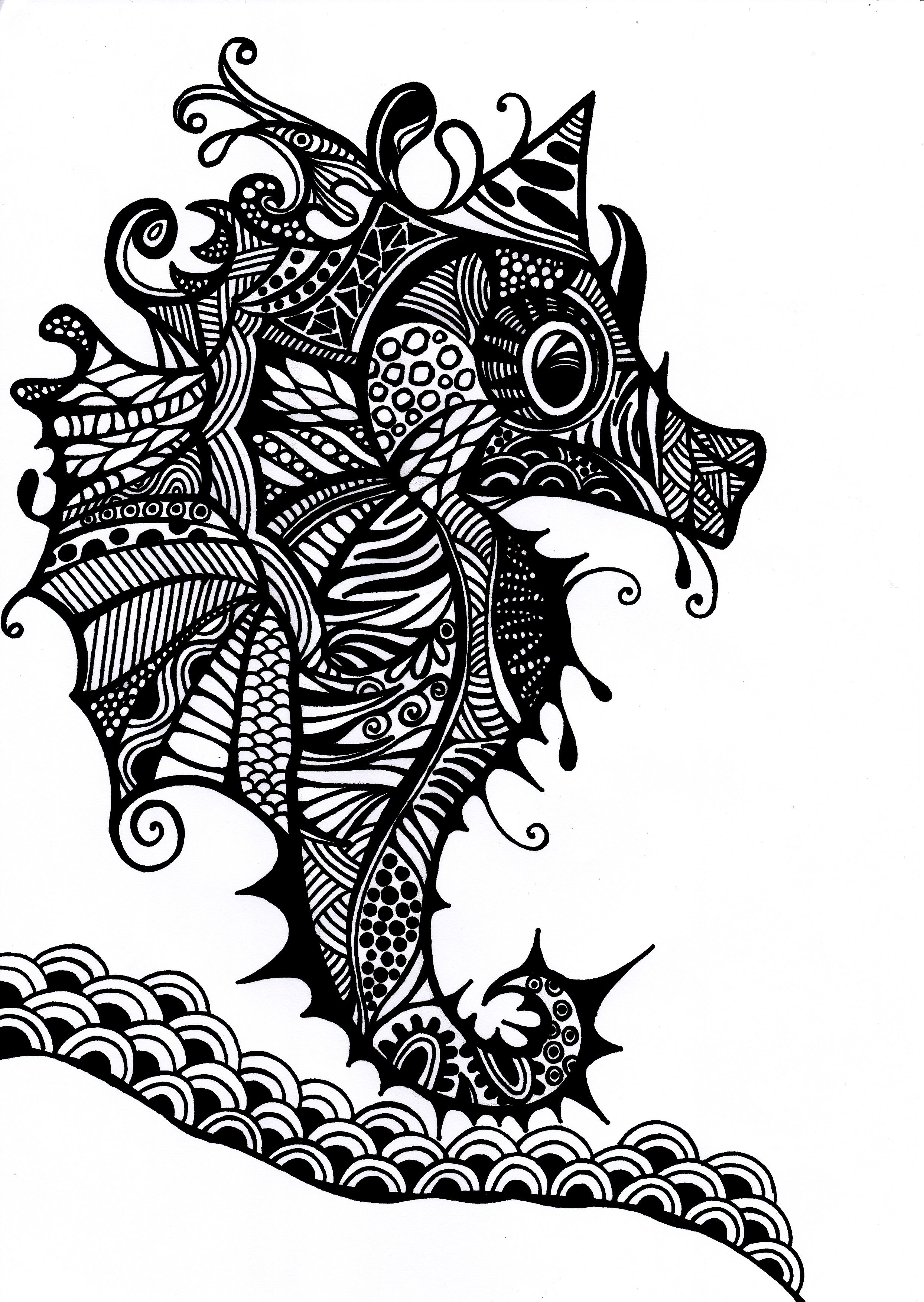 Black and white drawing using pen. sea seahorse black