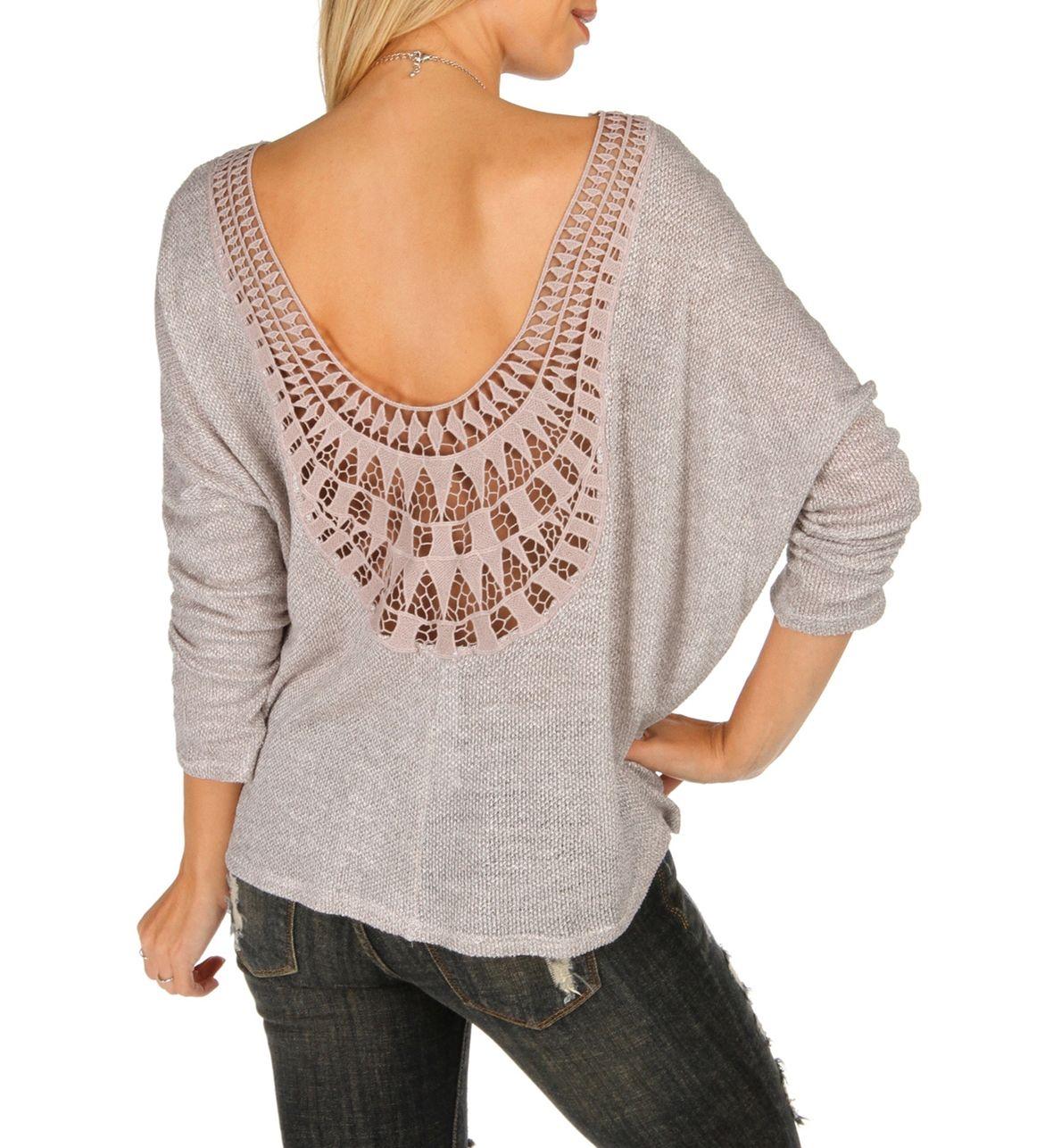Natural Crochet Back Dolman Top