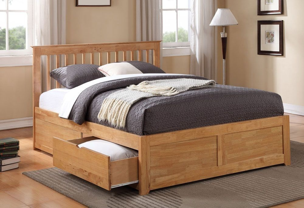 Petra Oak King Size Bed Frame With 2 Drawers Wooden King Size