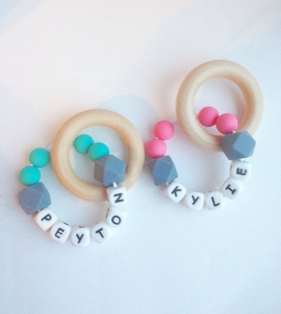 New* Personalized Silicone Teething Ring, Teething Beads, Silicone Teething Ring, Silicone Wood Teething Toy, Baby Ring Teether, Chew Beads