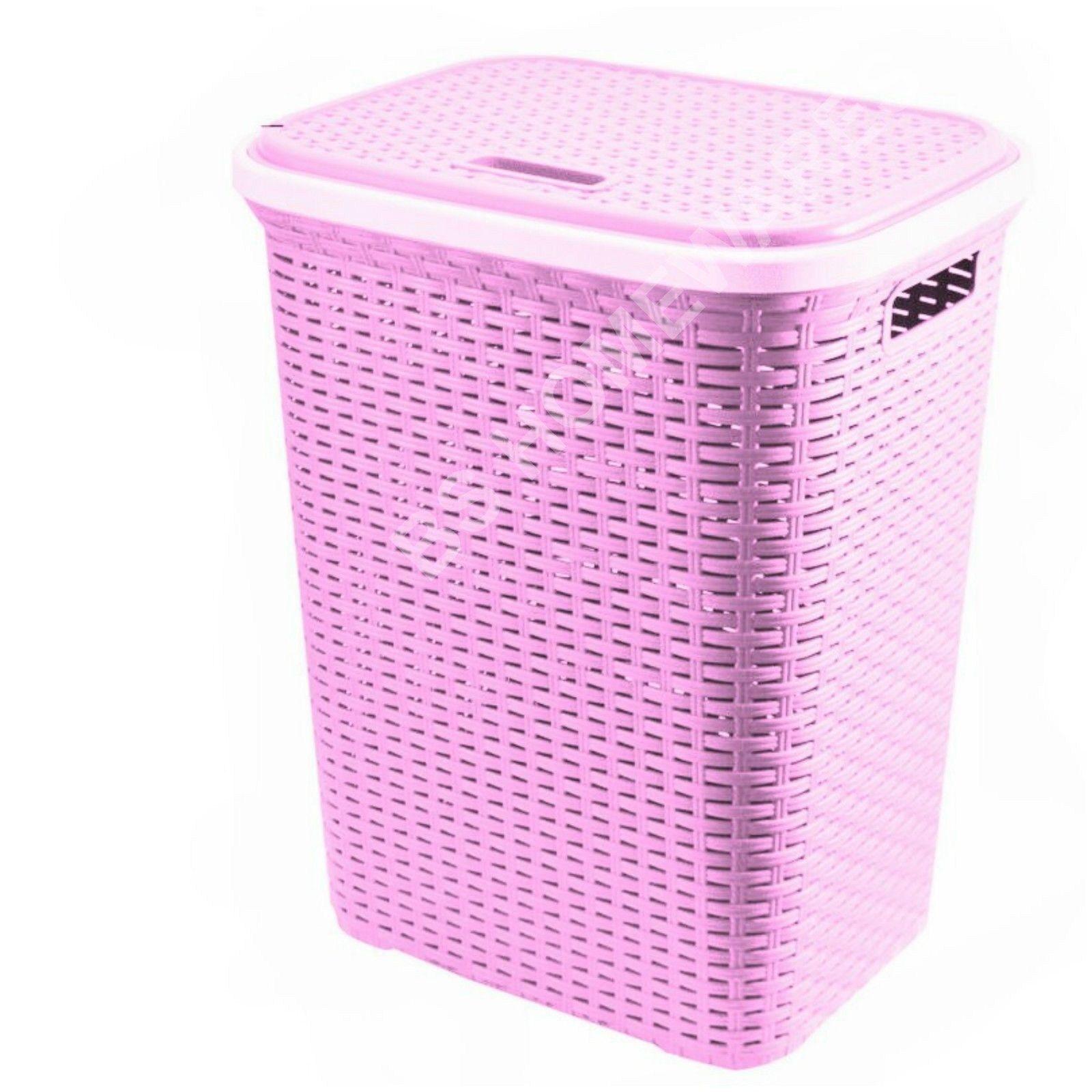 Plastic Laundry Basket Rattan Style 56l Cloth Washing Storage