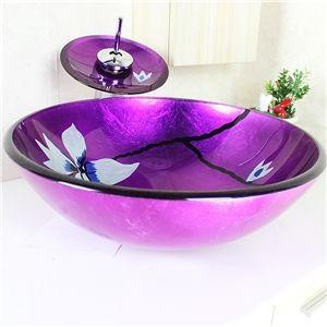 Waschbecken rund glas  Modern Waschbecken Lila Rund Glas Aufsatz Waschschale mit ...