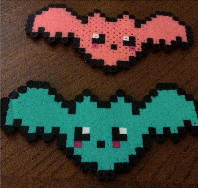 ONE kawaii nerdy punk bubble goth geeky perler bead 8 bit bat sprites or magnets cute retro bat by JessicaFirminArt on Etsy