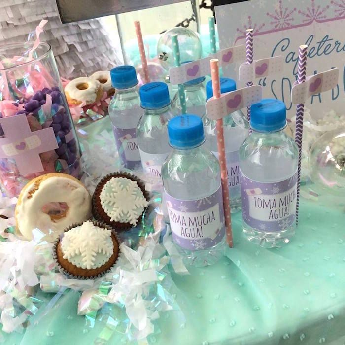water bottles from a frozen doc mcstuffins birthday
