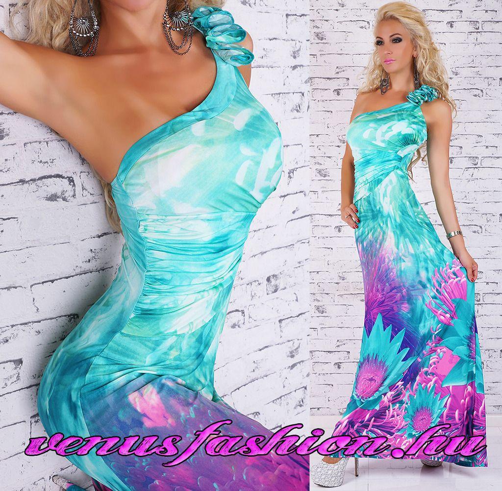 e9a434df33 Elegáns félvállas színes női hosszú maxi ruha - Venus fashion női ruha  webáruház