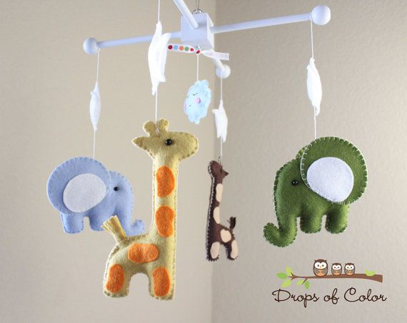 Baby Mobile Crib Nursery By Dropsofcolor On Etsy