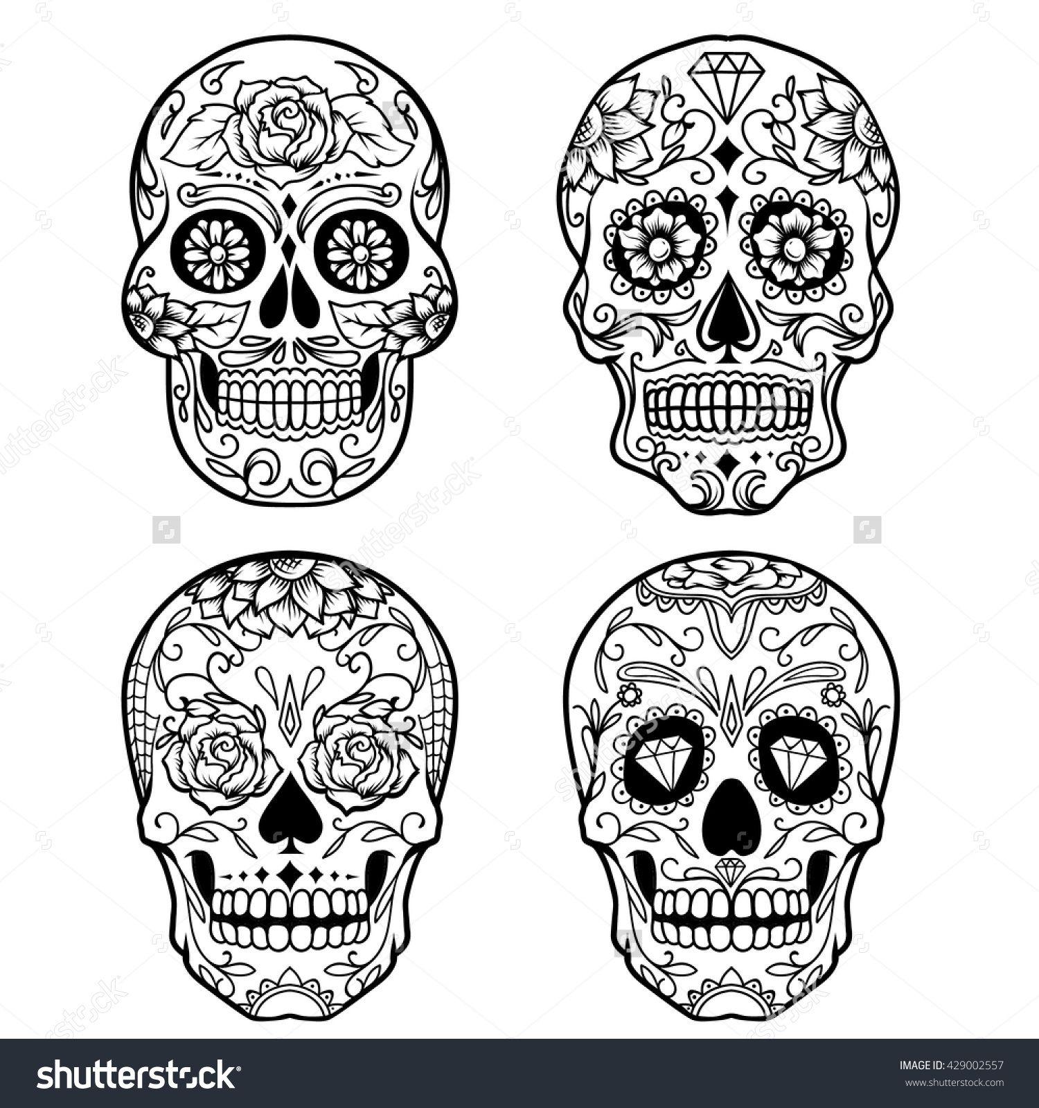 Day Of The Dead Sugar Skull Outline Tattoo Stock Vector Illustration Mexican Skull Tattoos Candy Skull Tattoo Candy Skull Tattoo For Men